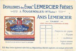 Carte Commerciale - Distilleries Des Ets Lemercier Frères à Fougerolles, Anis, Tarif - Publicités