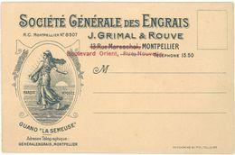 Carte Commerciale - Société Générale Des Engrais Grimal & Rouve, Montpellier - Advertising