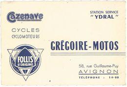 Carte Commerciale - Cazenave Cycles, Cyclomoteurs, Grégoire-Motos, Avignon, Follis - Publicités