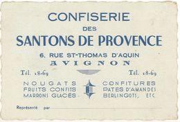 Carte Commerciale - Confiserie Des Santons De Provence, Avignon, Nougats, Fruits Confits, Berligots ... - Publicités