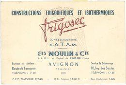 Carte Commerciale - Frigosec, Ets Moulin & Cie, Avignon - Publicités