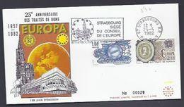 24.4.82  25 E ANNIVERSAIRE DES TRAITES DE ROME 1957-1982 STRASBOURG CONSEIL EUROPE TIRAGE LIMITE - Europa-CEPT
