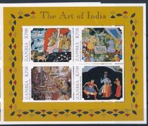 ZAMBIA 1998   Art Of India Painting S/s - Serie Cpl. 1 BF Nuovo** Perfetto - Zambia (1965-...)