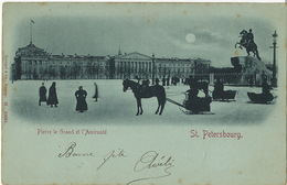 St Petersbourg Pierre Le Grand Et L' Amirauté Bleu A La Lune Pionniere Edit Stengel Dresde  M. 12094 - Russia
