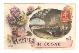 CPA Fantaisie 58 COSNE Amitiés De Cosne Fleurs & Médaillon Avec Train En Gare & Animation - Cosne Cours Sur Loire
