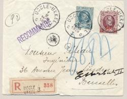 België - 1929 - 2Fr En 10 C Op 15c Houyoux Op R-cover Van Ukkel Naar Etterbeek - 1922-1927 Houyoux