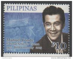 PHILIPPINES, 2015, MNH,MANUEL CONDE, CINEMA, FILMS, ACTORS, PRODUCERS,  1v - Cinéma