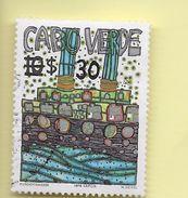 TIMBRES - STAMPS - CAP VERT / CAPE VERDE - 1985 -  ART MODERNE - TIMBRE OBLITÉRÉ DE 1982 AVEC SURCHARGE NOIR - Cap Vert