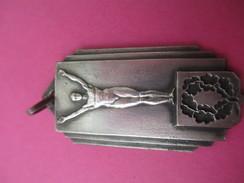 Médaille De Sport/ Homme Nu  Sur Podium/ Bronze Nickelé/L'Equipe Elans/ Vers 1930 - 1950             SPO186 - Deportes