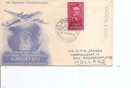 Inde -Nationalisation Des Transports Aériens ( Commémoratif De 1953 De Bombay Vers Les Pays-Bas à Voir) - Lettres & Documents