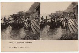 """Carte Stéréo """" CHINE - Le Port Fluvial De Tchong King """" - Chine"""
