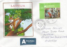 LETTONIE. EUROPA 2017 (L'écologie En Europe)  Sur Lettre Adressée ANDORRA, Avec Timbre à Date Arrivée - Europa-CEPT