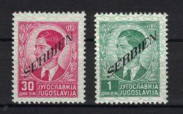 SERBIEN Portomarken Mi.-Nr. 45 & 33 MNH (NEUF **) LUXE Overprint (timbres De L'occupation Allemande En Serbie) - Occupation 1938-45