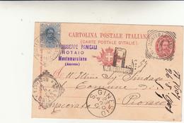 Montemarciano Per Pioraco Su Cartolina Postale Raccomandata. Timbri Tondo Riquadrati Montemarciano+Tolentino 1901 - 1878-00 Umberto I