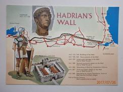 Postcard Map Hadrian's Wall Roman Interest My Ref B21668 - Maps
