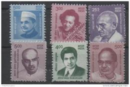 INDIA, 2016, MNH, FAMOUS PERSONS, GANDHI, MUKHERJEE, RAMANUJAN, 6v - Mahatma Gandhi