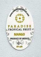 # MANGO PARADISE Mexico By Air Fruit Sticker Label, Etichette Etiquettes Etiquetas Adhesive Aufkleber Fruta Frucht - Fruits & Vegetables