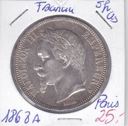 MONEDA DE FRANCIA DE PLATA DE 5 FRANCS DE NAPOLEON III DEL AÑO 1868 A  (COIN) - J. 5 Francos