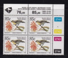 RSA, 1995, MNH Stamps In Control Blocks, MI 974, Endangered Bird, X731A - South Africa (1961-...)