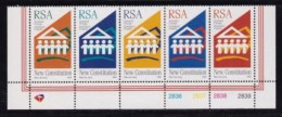 RSA, 1996, MNH Stamps In Control Blocks, MI 1011-1015, New Constitution, X740 - South Africa (1961-...)