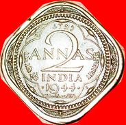 § QUADRANGULAR TYPE (1942-1945): INDIA ★ 2 ANNAS 1944! LOW START★ NO RESERVE! George VI (1937-1952) - India
