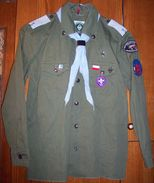Poland Scout ZUCH Olive Shirt - With Patches, Badges, Ranks, Epaulets & Tie - Scoutisme