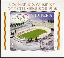 Albania 1968 Olympic Stadium Block Isssue Perforated Caancelled - Verano 1968: México