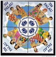 Palau, (Sc #387) MNH, (Block Of 4) 50th Anniversary Of Unicef  1997 - Palau
