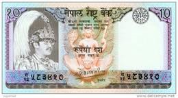 NEPAL TEN RUPEES BANKNOTE KING BIRENDRA 1985 PICK-31a UNC - Nepal