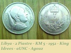 Libya - 2 Piastre - KM 5 - 1952 - King Idrees - AUNC - Agouz - Libya