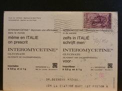 70/350  CP VAT. POUR LA BELG.  1967  RECLAME PHARMA - Vatican