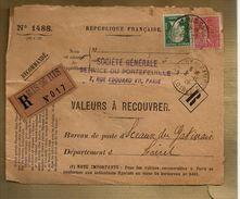 Valeurs à Recouvrer Recommandé SG Paris Sceaux Du Gatinais Pasteur 171 Semeuse 201 Perforé Perfin - Marcophilie (Lettres)