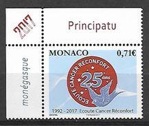 Monaco 2017 -  Yv N° 3104 ** - 25 ANS D'ÉCOUTE CANCER RÉCONFORT (Mi N° 3361) - Neufs