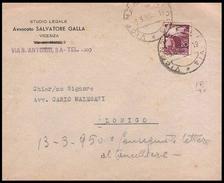 Busta Con Testatina: Studio Legale - Vicenza Per Lonigo Lire 20 Democratica - 1950 / Con Appunti (Furto Di Tabacco) - Documenti