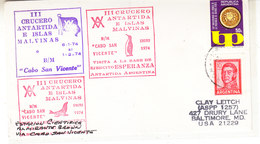 Argentina 1974 III Crucero Antartida E Islas Malvinas Cover  (36414) - Poolshepen & Ijsbrekers