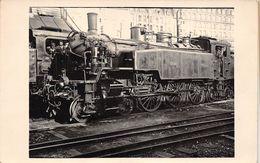 """Carte-Photo Non Située -  Trains En Gare - Locomotive Du Chemin De Fer Du """"NORD"""" - Une Machine """" CREIL """" - Cheminots - Matériel"""