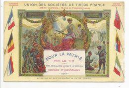UNION  DES  SOCIÉTÉS  DE TIR DE FRANCE - Pour La Patrie Par Le Tir  1915  /  Chasseurs Alpins / Femme Sein Nu / LESSIEUX - Guerre 1914-18