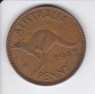 MONEDA DE AUSTRALIA DE 1 PENNY DEL AÑO 1943 CANGURO (KANGAROO) - Moneda Pre-decimale (1910-1965)