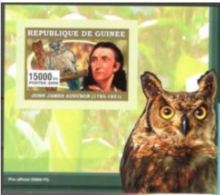 Guinée 2006 John James AUDUBON Bird Oiseau Owl Hiboux BF Luxe Carton - Célébrités