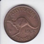 MONEDA DE AUSTRALIA DE 1 PENNY DEL AÑO 1953 CANGURO (KANGAROO) - Penny