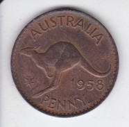 MONEDA DE AUSTRALIA DE 1 PENNY DEL AÑO 1958 CANGURO (KANGAROO) - Penny
