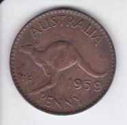 MONEDA DE AUSTRALIA DE 1 PENNY DEL AÑO 1959 CANGURO (KANGAROO) - Moneda Pre-decimale (1910-1965)