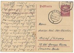 G1 DR Ganzsache Postkarte P 227 Hindenburg 1939 15 Pf. Ausland Schweiz Handstempel Speyer S N. Genf - Germania