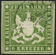 WÜRTTEMBERG 13a O, 1860, 6 Kr. Grün, Pracht, Mi. 140.- - Wuerttemberg
