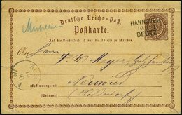 BAHNPOST DR P 1 BRIEF, Hannover-Deutz, L3 Und Handschriftlich MÜHLHEIM Auf 1/2 Gr. Ganzsachenkarte Von 1875, Feinst - Marcophilie - EMA (Empreintes Machines)