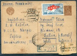 1927 USSR Registered Stationery Postcard Tiflis Georgia - Tallin Estonia - Brieven En Documenten