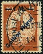 Dt. Reich IV O, 1912, 1 M. Auf 10 Pf. Gelber Hund, Pracht, Mi. 200.- - Deutschland