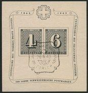 SCHWEIZ BUNDESPOST Bl. 8 O, 1943, Block 100 Jahre Briefmarken, Ersttags-Sonderstempel, Pracht, Mi. 65.- - Schweiz