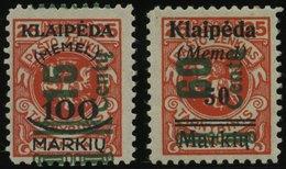MEMELGEBIET 231,233 *, 1923, 15 C. Auf 100 M. Auf 25 C. Und 60 C. Auf 50 M. Auf 25 C., Fast Postfrisch, Pracht, Gepr. Dr - Memelgebiet