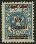 MEMELGEBIET 221 *, 1923, 25 C. Auf 1000 M. Grünlichblau, Fast Postfrisch, Pracht, Mi. 80.- - Memelgebiet